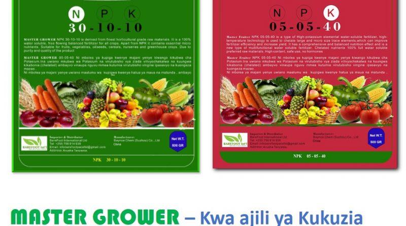 Mbolea za kunyunyiza ni suluhisho la upungufu wa virutubisho katika mazao. Ili kupata matokeo mazuri unatakiwa kutumia mbolea ya Master Grower na Master Fruiter